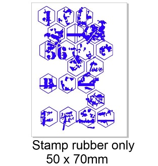 Hexagon grunge stamp rubber ONLY 50 x 70mm